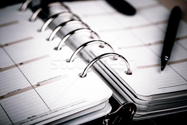 Személyes szervező tervező toll fehér luxus Stock fotó © jarin13