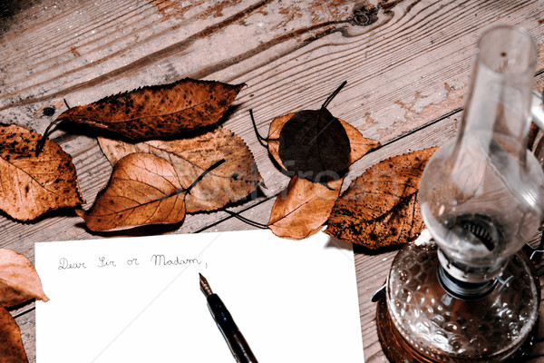 Antiquado carta caneta escritório madeira luz Foto stock © jarin13