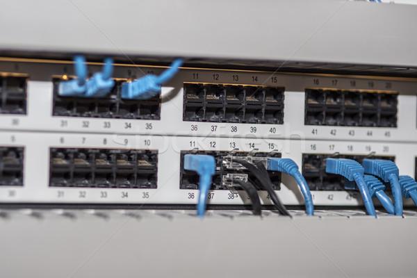 Sunucu panel kablolar mavi bilgisayar Internet Stok fotoğraf © jarin13
