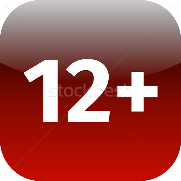 Restriction on age 12+ - red and white icon Stock photo © jarin13