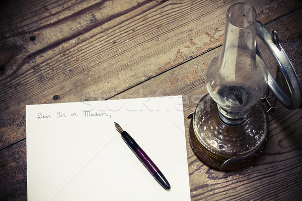 старомодный письме пер лампы бизнеса служба Сток-фото © jarin13
