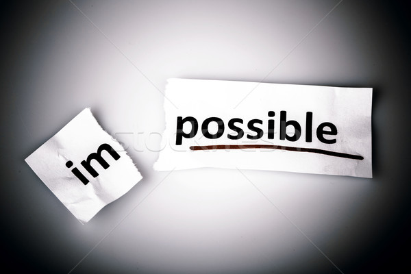 Photo stock: Mot · impossible · possible · papier · déchiré · blanche · entreprise