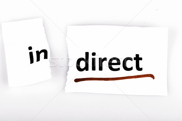 The word indirect changed to direct on torn paper Stock photo © jarin13