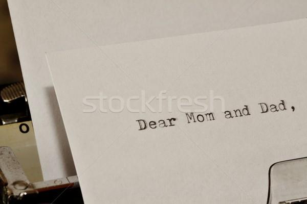 ストックフォト: 文字 · ママ · お父さん · 古い · タイプライター · 手紙