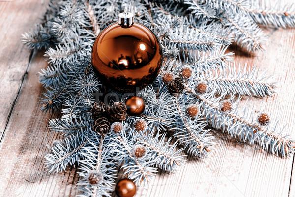 Natal decoração vermelho bola verde ramo Foto stock © jarin13