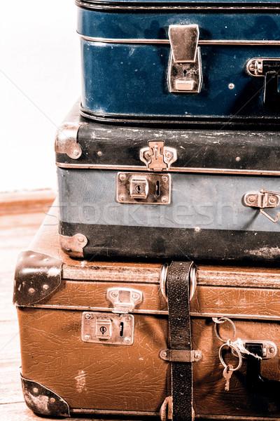 古い スーツケース 美しい 青 ブラウン スーツケース ストックフォト © jarin13