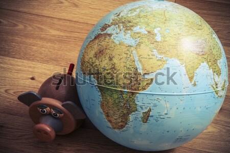 Para kutu dünya dünya domuz el Stok fotoğraf © jarin13