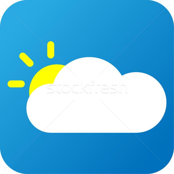 Hava durumu web simgesi bulut güneş mavi sarı Stok fotoğraf © jarin13