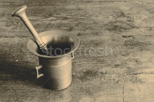 Vieux bronze table belle bois métal Photo stock © jarin13