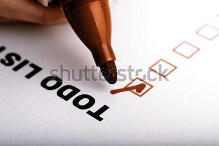 Para hacer la lista marcador comprobar aislado blanco signo Foto stock © jarin13