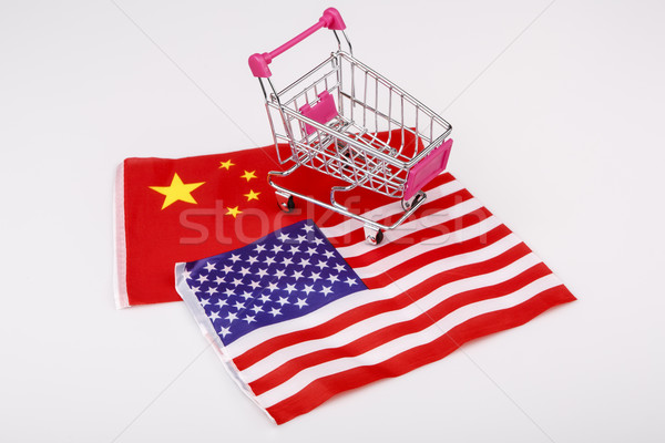 Shopping cart with USA and China flag Stock photo © jarin13