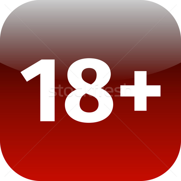 Restriction on age 18+ - red and white icon Stock photo © jarin13