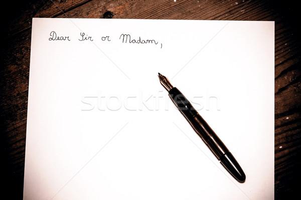 Ouderwets brief pen business kantoor hout Stockfoto © jarin13