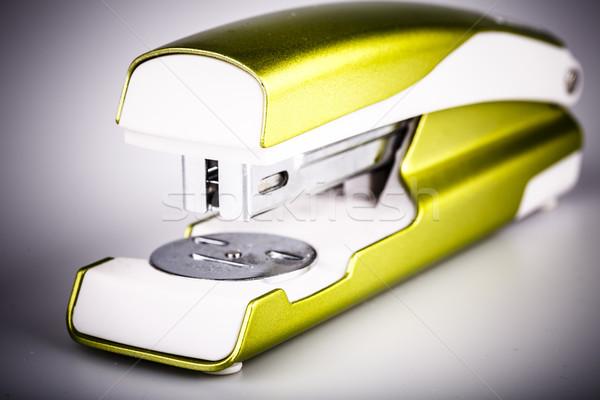 Verde chiaro cucitrice isolato bianco carta scuola Foto d'archivio © jarin13
