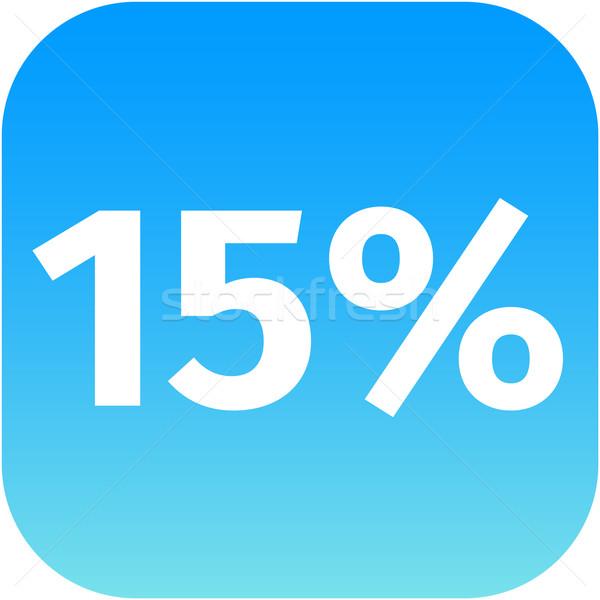15 procent icon Blauw witte telefoon Stockfoto © jarin13