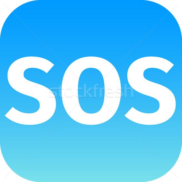 СОС икона белый текста синий телефон Сток-фото © jarin13