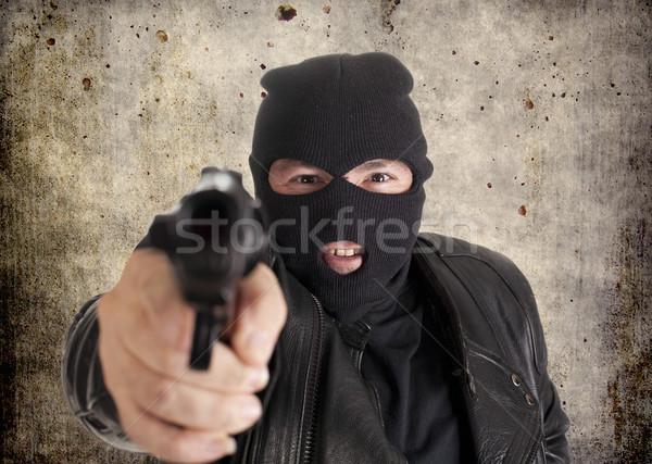 Hırsız adam güvenlik tabanca beyaz kötü Stok fotoğraf © jarp17