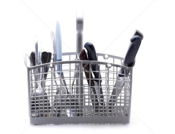 посудомоечная машина корзины белый Ножи Сток-фото © jarp17