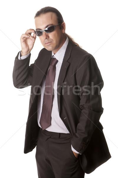 Солнцезащитные очки молодой бизнеса человека белый Сток-фото © jarp17