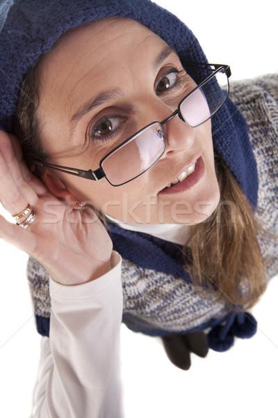 Szemüveg nő készít kézmozdulat nem figyel kéz Stock fotó © jarp17