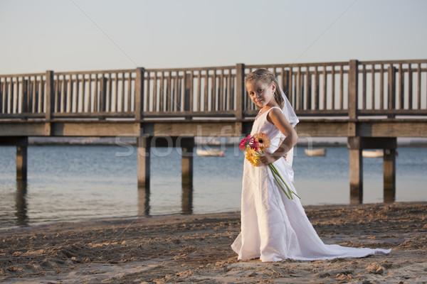 Ponte casamento menina vestido de noiva praia crianças Foto stock © jarp17