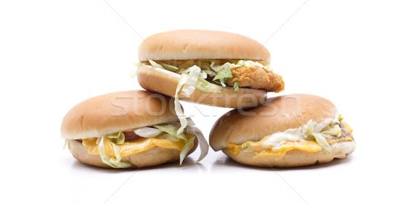 три гамбургер сыра мяса салата Сток-фото © jarp17