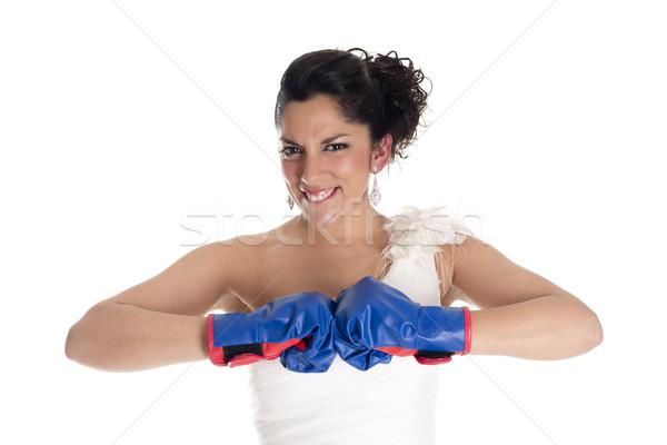 Novia boxeo guantes de boxeo signo luchar mujer Foto stock © jarp17