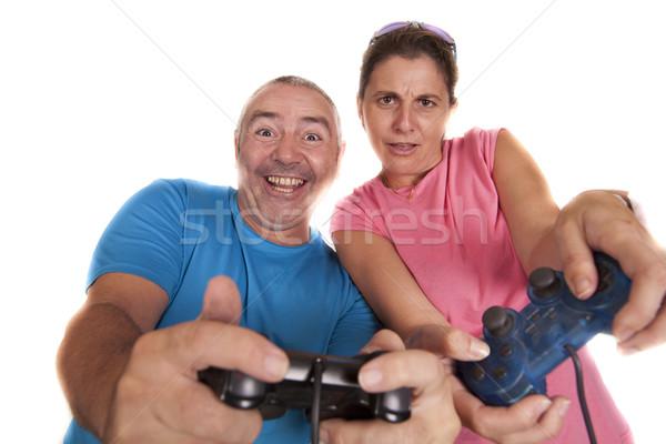 пару играть играет видеоигра женщину человека Сток-фото © jarp17