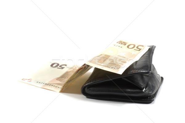Carteira preto couro numerário dinheiro compras Foto stock © jarp17