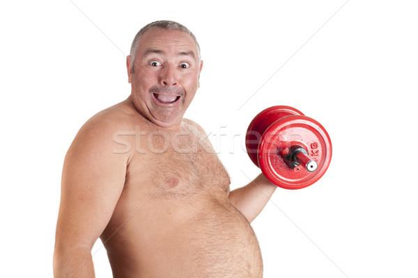 Yağ oynama diyet adam spor ağırlık Stok fotoğraf © jarp17