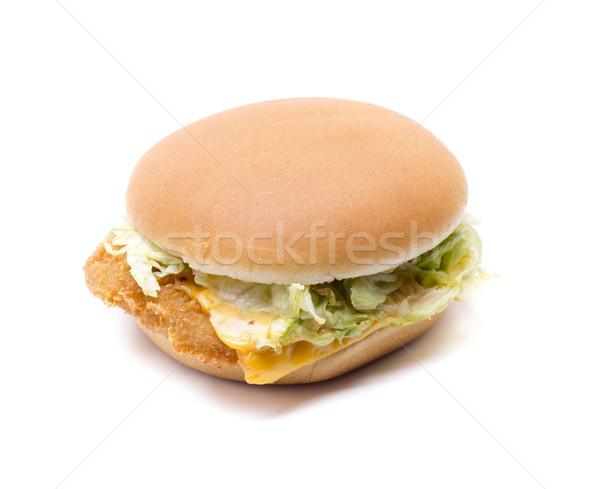 Tyúk hamburger finom sajt hús saláta Stock fotó © jarp17