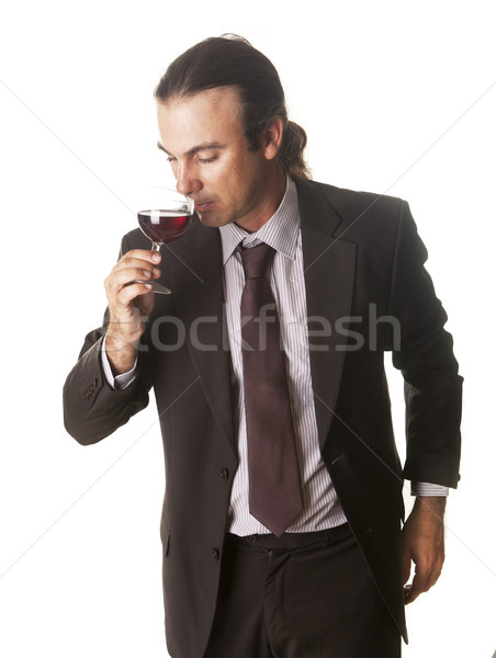 Aşçılar tatma cam şarap restoran içmek Stok fotoğraf © jarp17