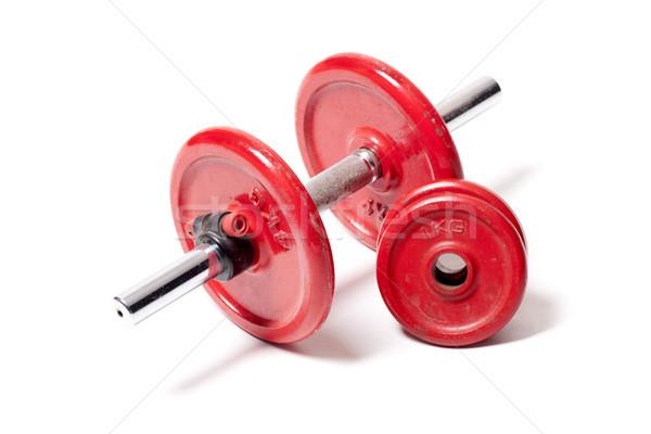 Ağırlık kırmızı ağırlıklar sağlık egzersiz yaşam tarzı Stok fotoğraf © jarp17