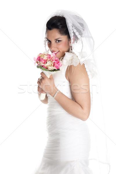 Bella sposa bouquet posa wedding giorno Foto d'archivio © jarp17