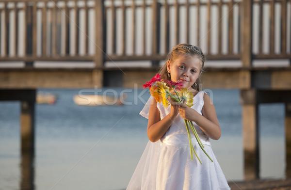 Amor menina vestido de noiva praia crianças mulheres Foto stock © jarp17