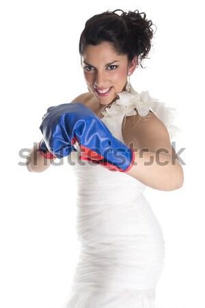 Sposa guantoni da boxe segno lottare donna Foto d'archivio © jarp17