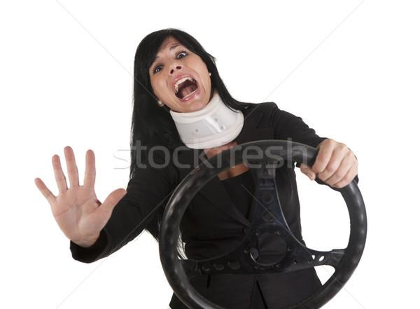 аварии красивая женщина вождения автомобилей движения белый Сток-фото © jarp17