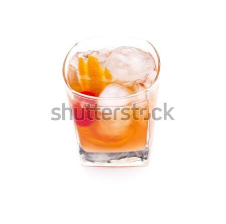 старые моде коктейль стекла оранжевый лимона Сток-фото © jarp17