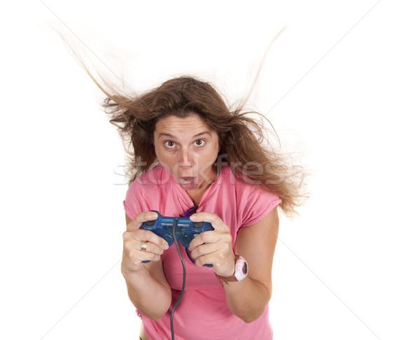őrült konzol nő szórakozás játszik számítógép Stock fotó © jarp17