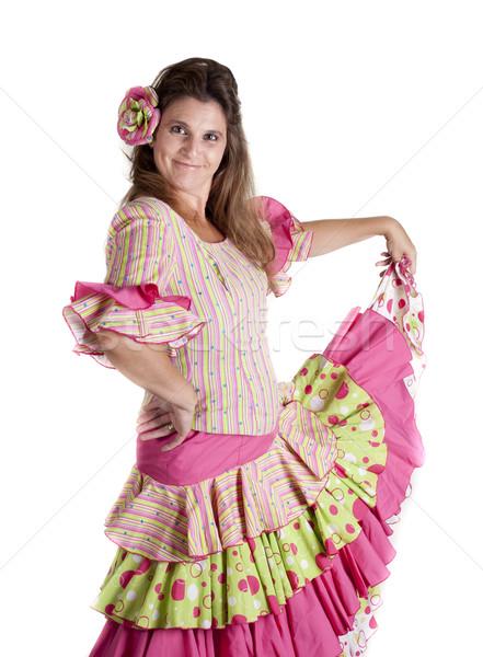 Flamenko dansçı kız İspanyolca kostüm elbise Stok fotoğraf © jarp17