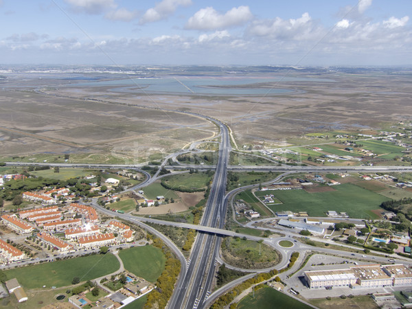 Tengerparti autópálya hosszú levegő tájkép zöld Stock fotó © jarp17