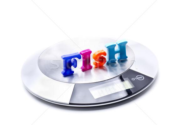 Ağırlık ölçmek balık küçük dijital kullanılmış Stok fotoğraf © jarp17