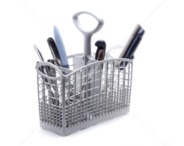 Bulaşık makinesi sepet bıçaklar kaşık çatal Stok fotoğraf © jarp17