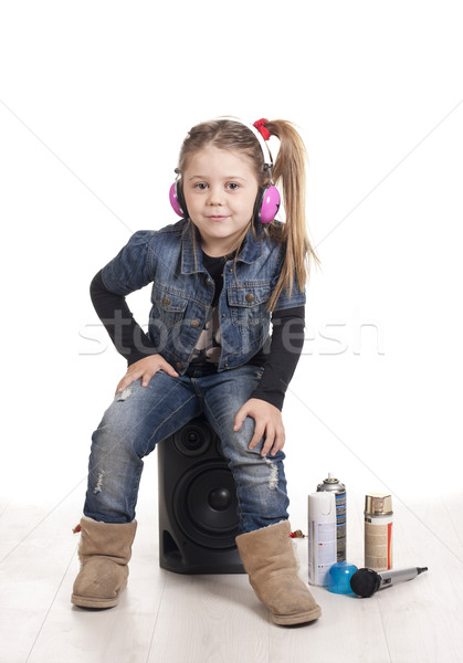 Rapper ül lány hallgat zene rap Stock fotó © jarp17