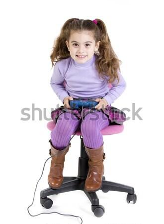 девушки видеоигра сидят играет игры Видеоигры Сток-фото © jarp17