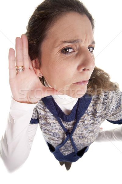 Nő készít kézmozdulat nem figyel kéz szemüveg Stock fotó © jarp17