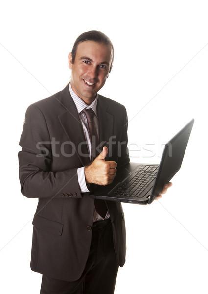 ПК вызывать бизнесмен работает бизнеса компьютер Сток-фото © jarp17