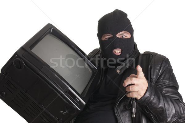 Tv siyah hırsız adam güvenlik beyaz Stok fotoğraf © jarp17