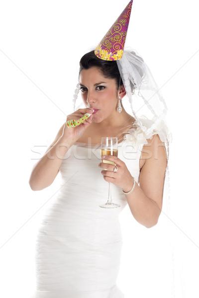 Parti üfleyici gelin düğün gün Stok fotoğraf © jarp17