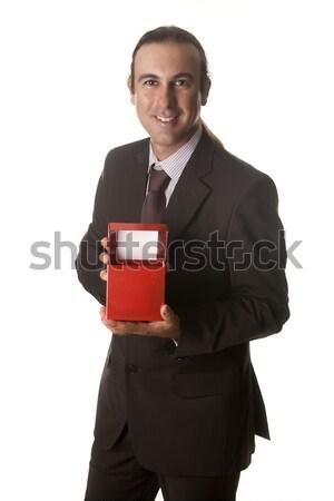 Kırmızı kutu genç hediye adam doğum günü Stok fotoğraf © jarp17
